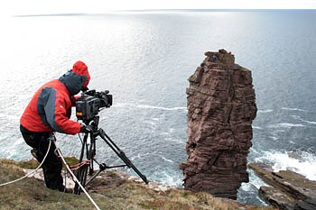 Filming of Julia's climb on the Old Man of Stoer