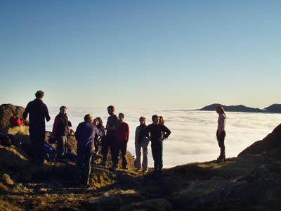 Crowd on Pavey Ark summit