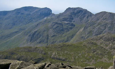 Scafell, left, and Scafell Pike, separated by Mickledore