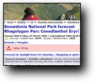 The Met Office Snowdonia forecast site