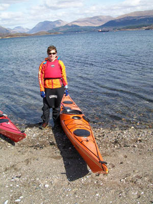 Practising for the sea-kayaking sections