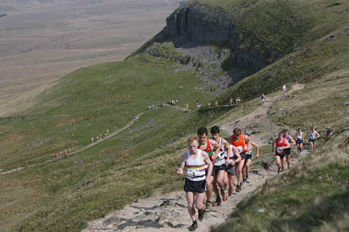 Runners tackle the climb to Pen-y-ghent during the 2007 race
