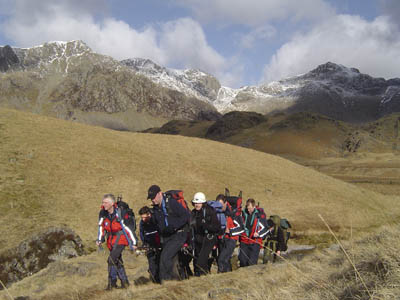 A casualty is carried off the fells