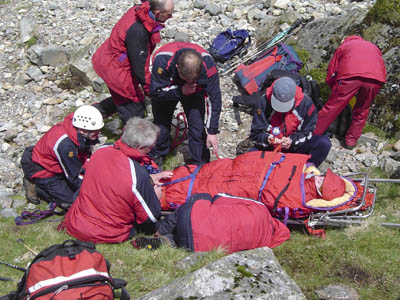 A mountain rescue team at work in the Lake District