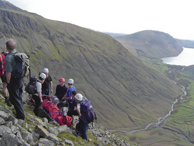 Wasdale MRT members in action on an earlier rescue