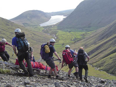 Wasdale MRT in action. 2008 marks the 75th anniversary of the founding of volunteer rescue services
