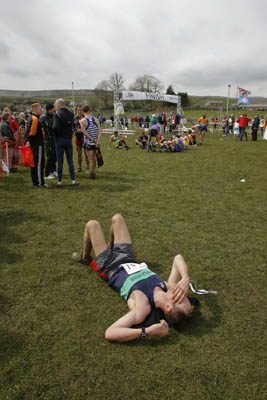 Exhaustion at the finish in Horton in Ribblesdale