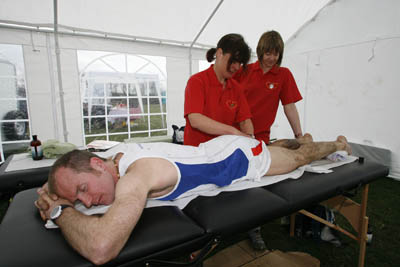 A post-race massage for Ian Holmes from Park Lane College Keighley students