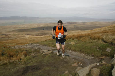 Zachary Freudenburg, in the lead on the ascent to Pen-y-ghent