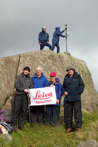 The surveying party on Craig Fach, with an unashamed plug for Leica Geosystems. Photo: John Nuttall