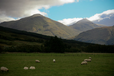 The view down Strath Fillan, dominated by Ben More and Stob Binnein