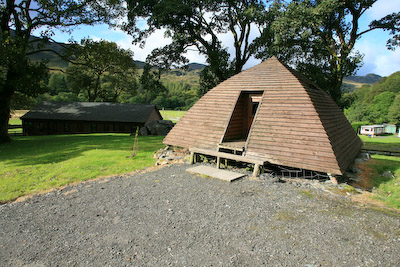 One of the Beinglas wooden wigwams