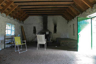 The inside of the bothy at Doune