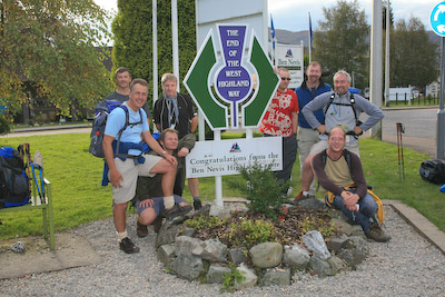 Journey's end: the team, plus friends, at Nevis Bridge. From left, Pete, Chris, Paul, Bob, Phil, Kevin, Bob Smith and Nick