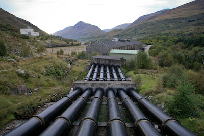 The massive pipes which fed the old aluminium works in Kinlochleven