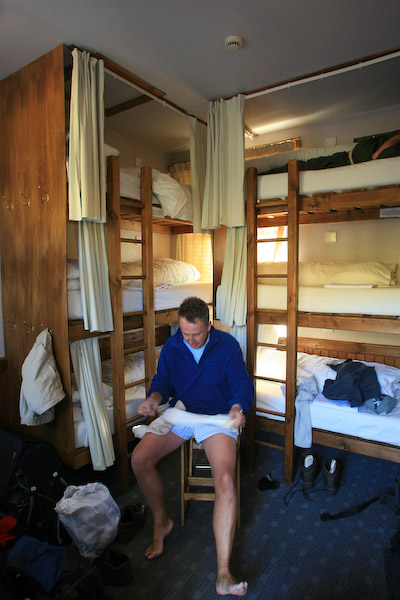 Chris considers euthanasia for a pair of socks in the bunkhouse