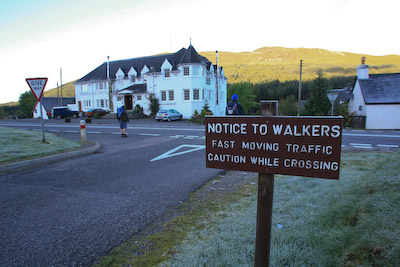 The route crosses the main road north at the Bridge of Orchy Hotel