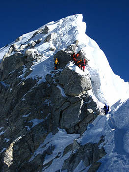 Xtreme Everest climbers tackle the Hillary Step, one of the last obstacles before the summit of the mountain