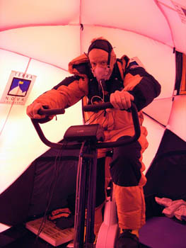 Dr Chris Imray undergoing exercise testing at high altitude on Everest