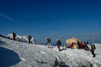 The summit team sets off from base camp