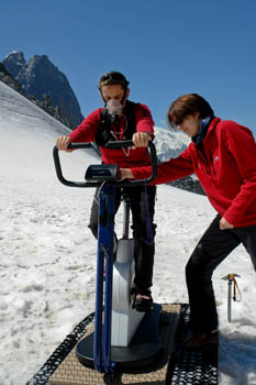 The medical team conducts exercise bike experiments at altitude