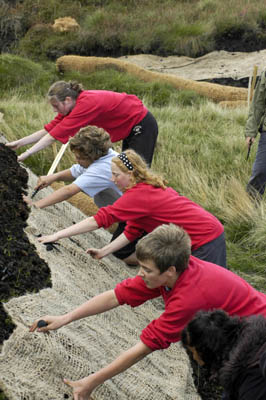 Youth Rangers help restore moorland at Black Hill, near Holmfirth