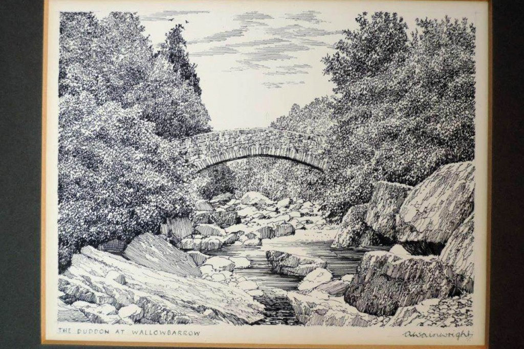 The signed drawing of the Duddon at Wallowbarrow could make £800. Image: 1818 Auctioneers