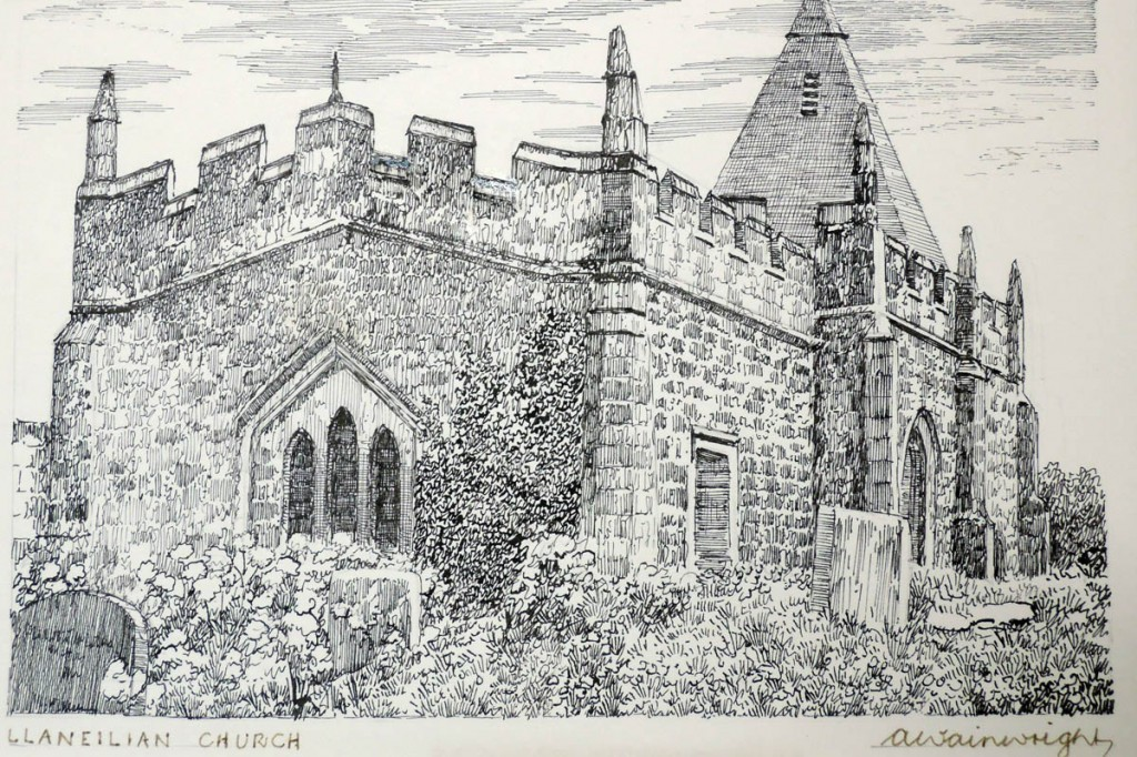 The auction includes a drawing of Llaneilan Church. Image: 1818 Auctioneers