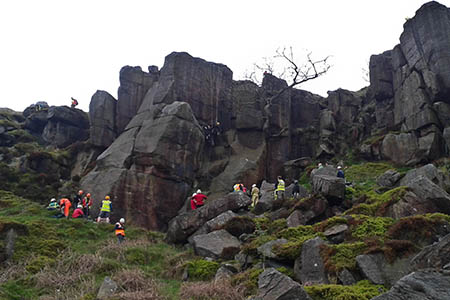 Rescuers work to free Ian Routledge from the Rocky Valley crag. Photo: Calder Valley SRT