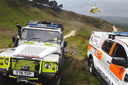 Rescue vehicles and the air ambulance at the scene. Photo: Calder Valley SRT