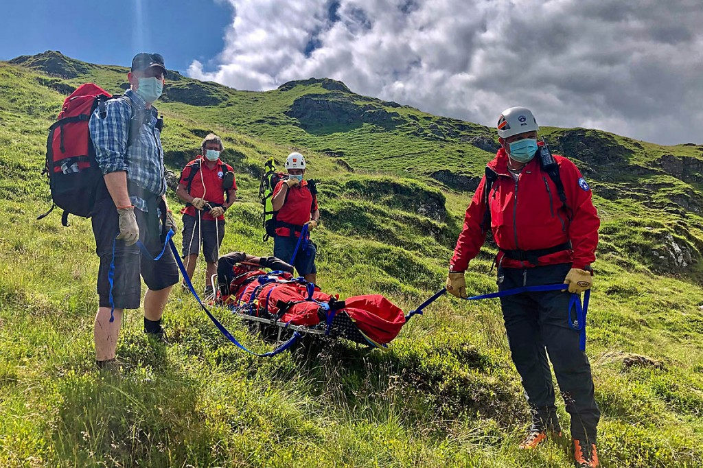 The injured man is stretchered from Graig y Bwlch. Photo: Aberdyfi Search and Rescue Team