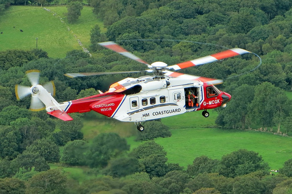 The Caernarfon Coastguard helicopter. Photo: Aberdyfi SRT