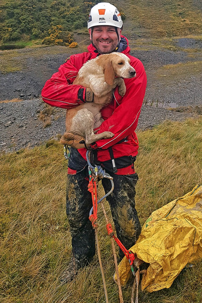 A team member with the rescued dog. Photo: Aberdyfi SRT