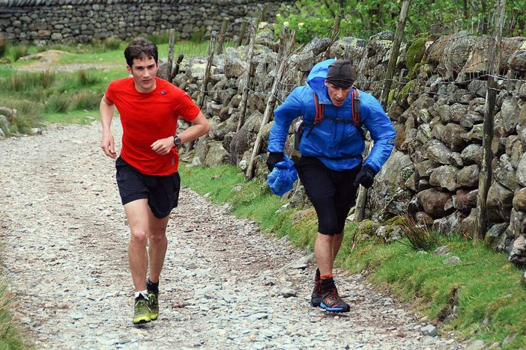 `Adam Perry and a support runner during the weekend record attempt
