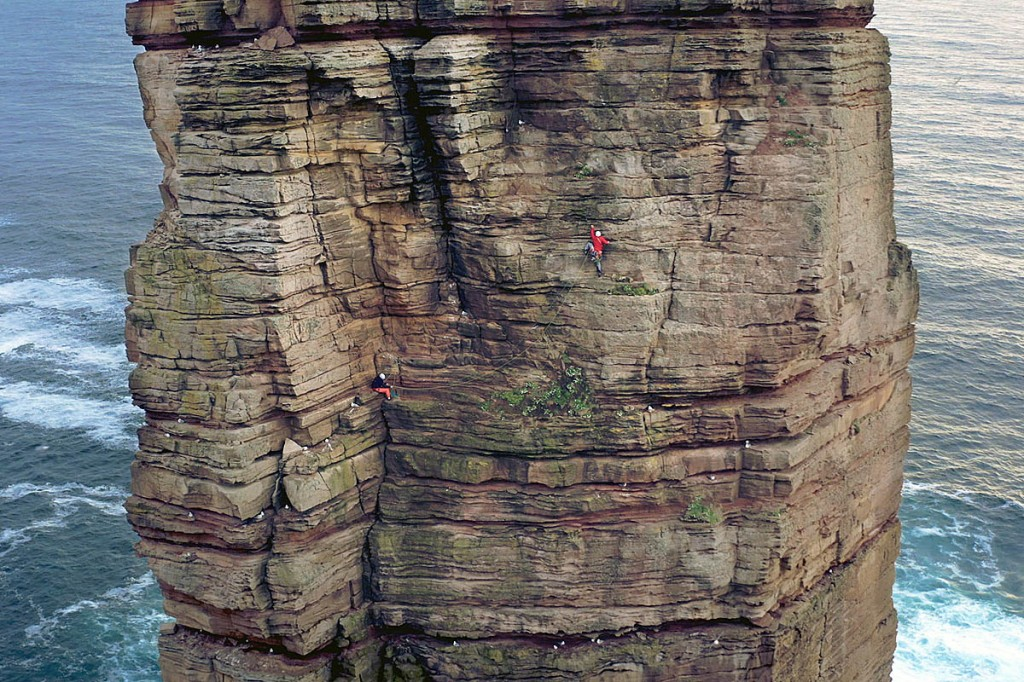 Jesse Dufton in action on the Old Man of Hoy