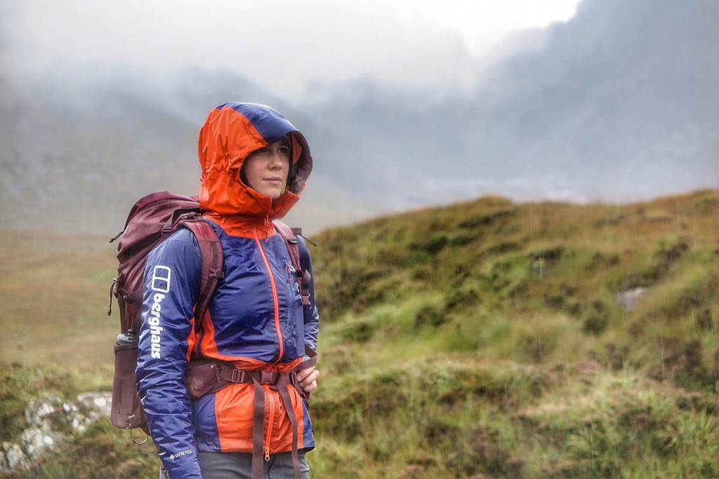 Anna Taylor contempates wet conditions during the final leg of her round on Skye. Photo: Neil Gresham