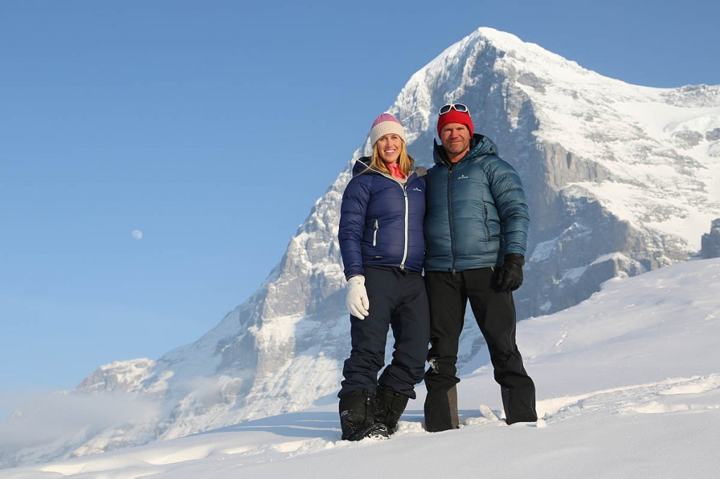 Steve Backshall with his wife Helen Glover and the Eiger. Photo: BBC/Screendog