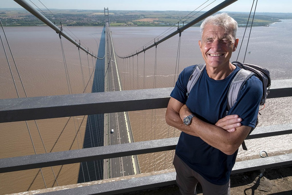 The presenter on top of the Humber Bridge. Photo: BBC