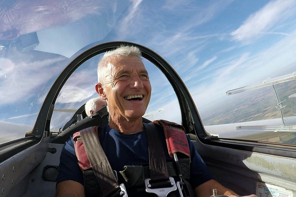 The adventurer takes to the air for the programme. Photo: BBC