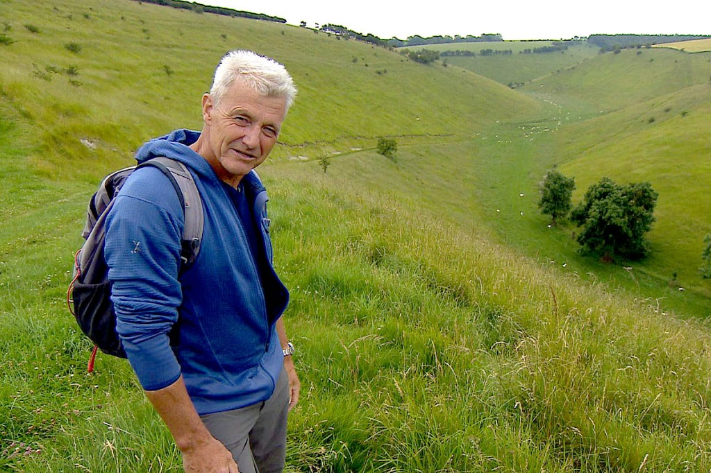 Paul Rose explores a dry valley along the Yorkshire Wolds Way. Photo: BBC