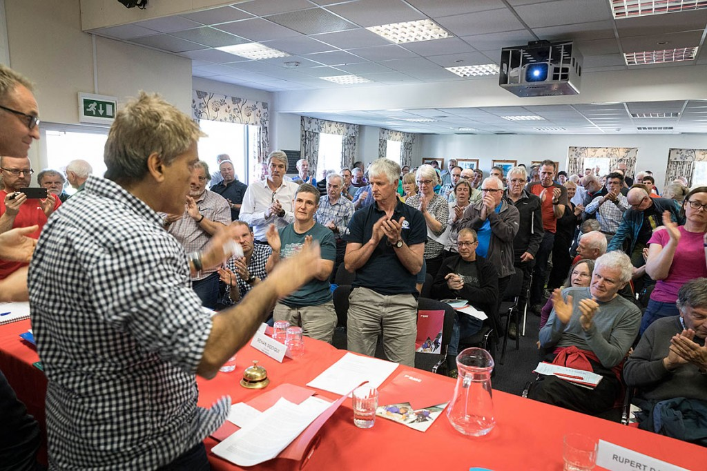 Members at the annual meeting gave Mr Siddiqui a standing ovation after he made his announcement. Photo: Bob Smith/grough