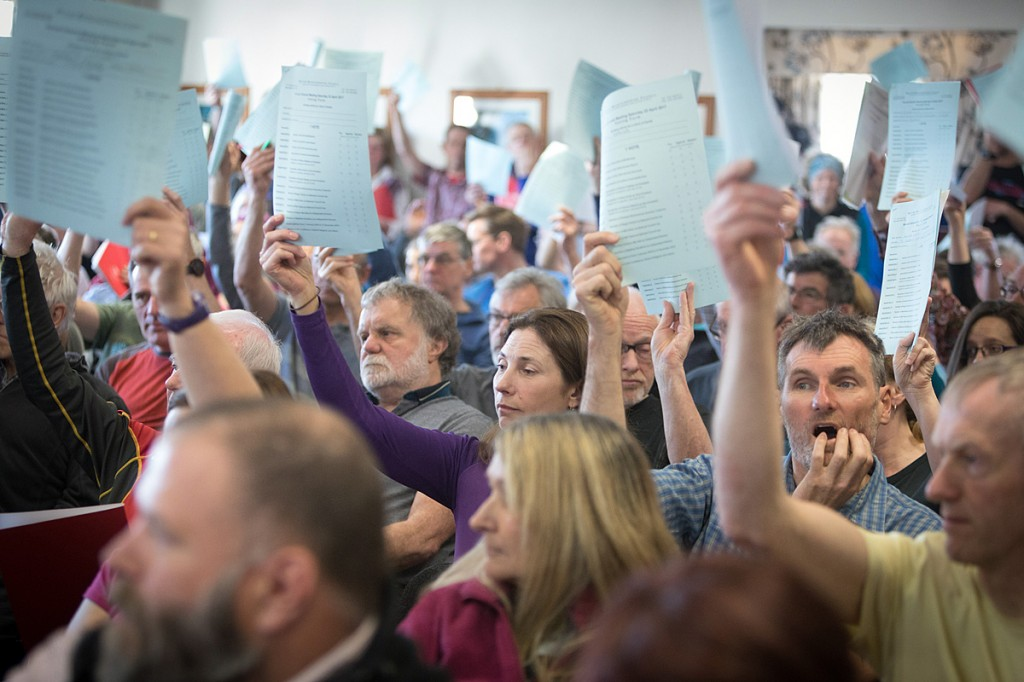 Members vote at April's annual meeting of the BMC at Plas y Brenin. Photo: Bob Smith/grough