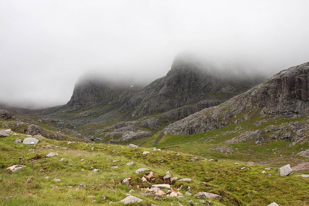 Ben Nevis's North Face is in cloud, the team said. Photo: Bob Smith/grough