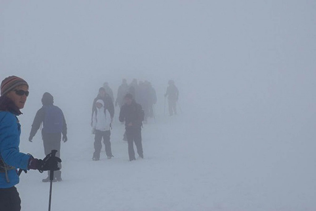 Whiteout conditions on Ben Nevis summit make for difficult navigation. Photo: MCofS