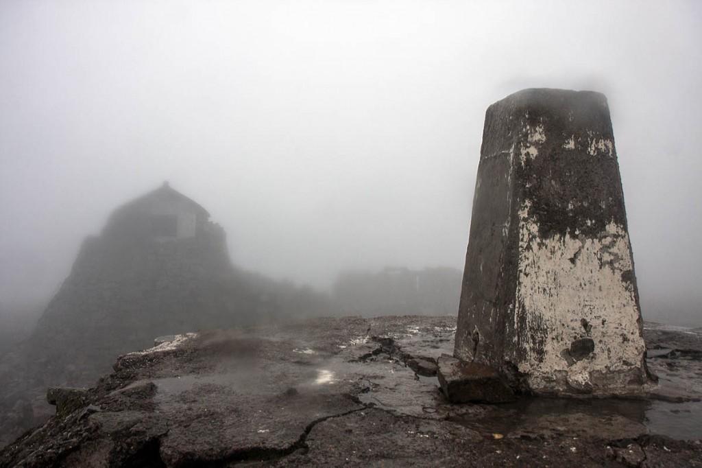 The trig pillar on a murky Ben Nevis