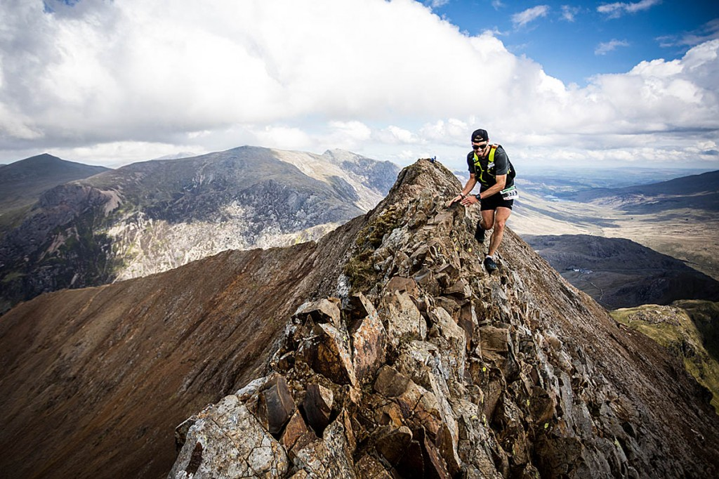 Galen Reynolds picks his way along Crib Goch on the Snowdon massif. Photo: No Limits Photography