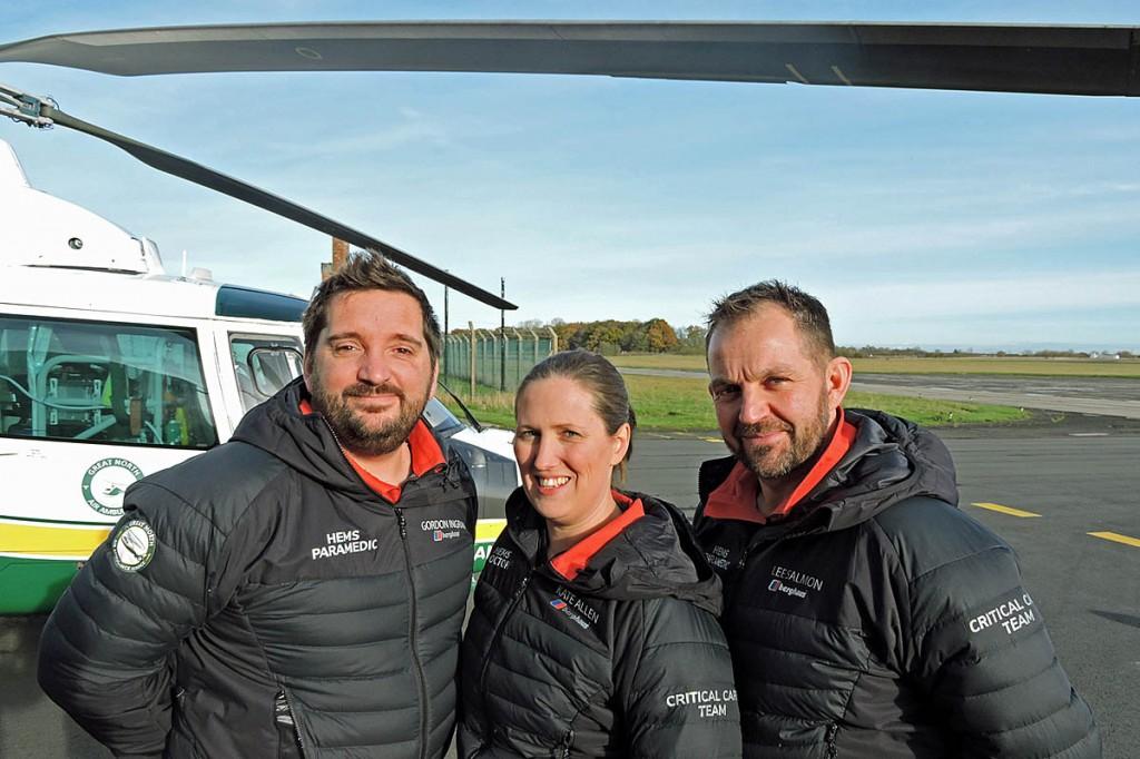 From left: Gordon Ingram, Kate Allen and Lee Salmon of GNAAS in their new kit