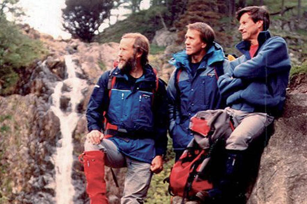 Gordon Davison, right, with Peter Lockey and Chris Bonington in a mid-1980s Berghaus photoshoot