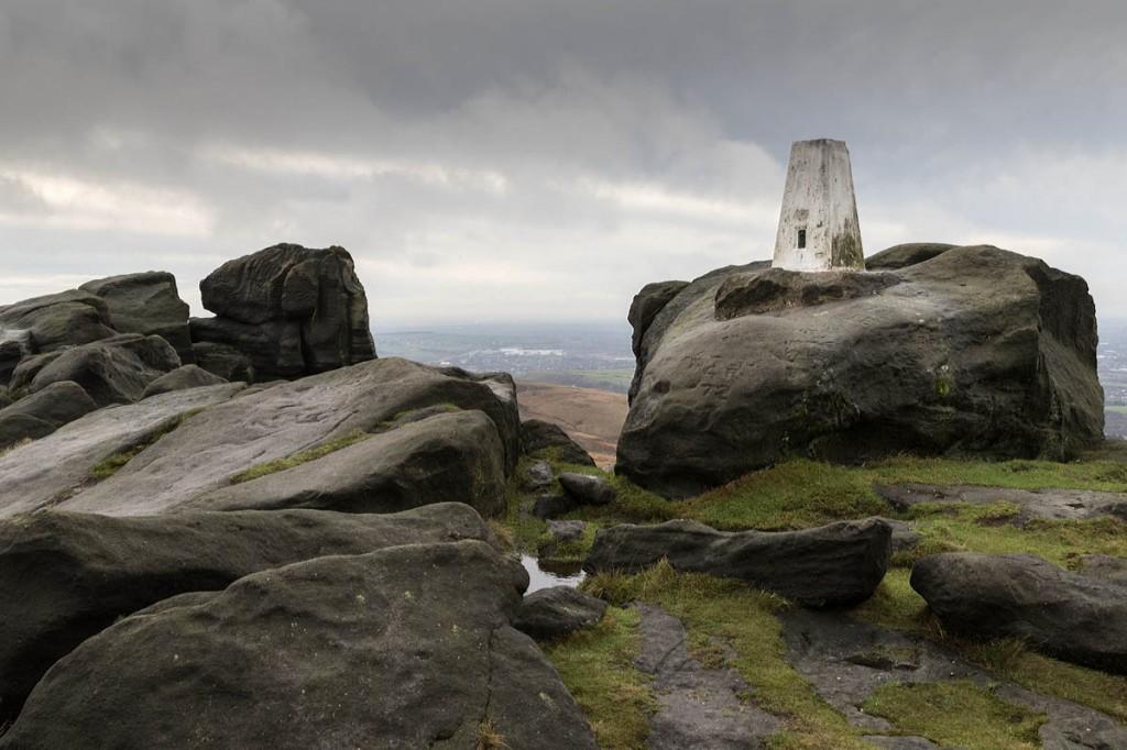 The trig pillar on Blackstone Edge on the Pennine Way
