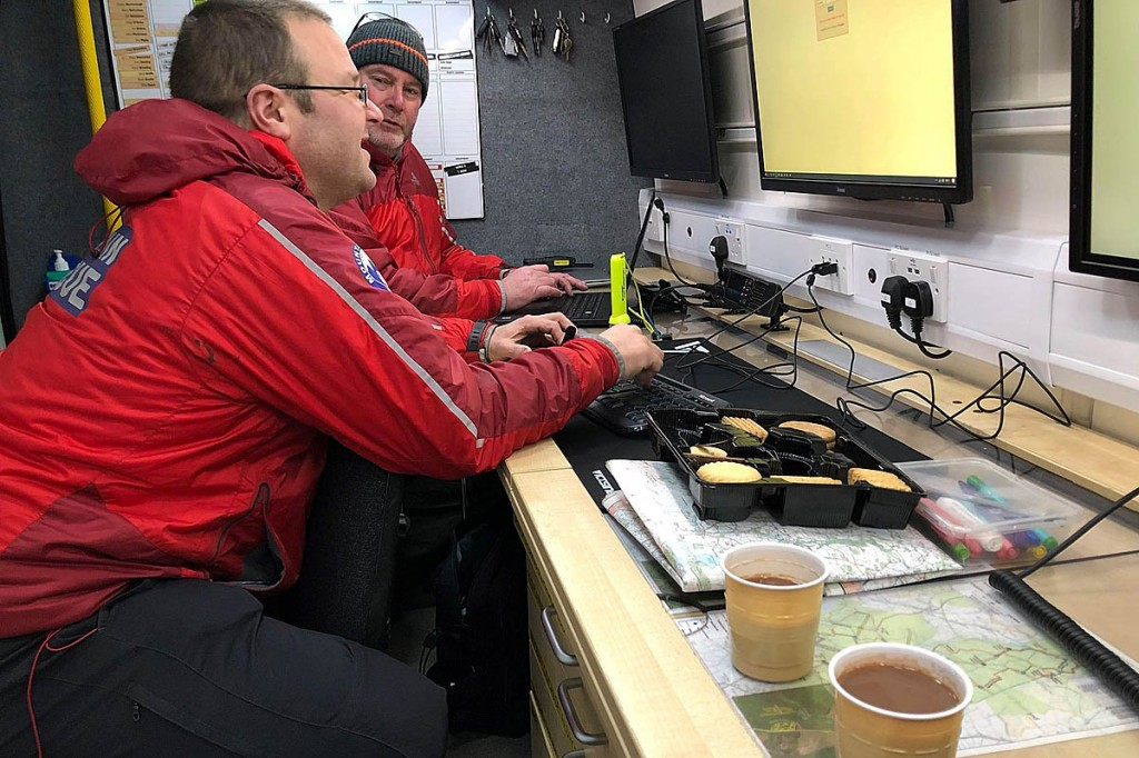 The team's incident controllers at work during the search for the missing woman. Photo: Bowland Pennine MRT